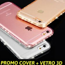 COVER TRASPARENTE TPU SILICONE PER IPHONE 8 7 6 6S PLUS CON BRILLANTINI STRASS