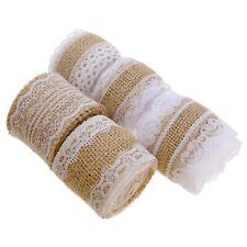 5pcs Natural Burlap Ribbon Rolls With White Lace Kit Decor DIY Handmade Wedding