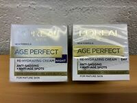 L'OREAL AGE PERFECT RE-HYDRATING ANTI-SAGGING DAY AND NIGHT CREAM 50ml X 2 NEW