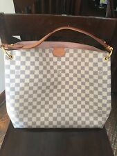 LOUIS VUITTON N42233 Damier Azure Graceful MM Shoulder Bag White Pink Used
