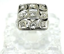 Vintage 14k White Gold And Diamond Square Cocktail Ring. Size 5