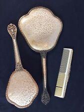 Vintage THE REGENT 3 pc Vanity Set - Mirror Brush Comb - England - Gold