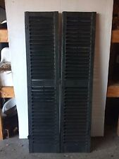 Pair Antique Shutters Louvered Vintage Painted Old 15x66 2168-16