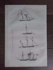 GRAVURE MARINE 1840 VAISSEAUX ARMÉE GOËLETTE CUTTER LOUGRE BÂTIMENT A VAPEUR