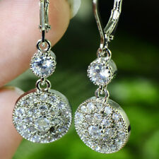 Women White Gold Filled CZ Cubic Zirconia Engagement Drop Long Dangle Earrings