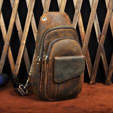 Men's Vintage Crazy Horse Genuine Leather Chest Cycle Sling Pack Shoulder Bag