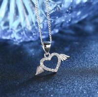 Silver SP Pave Cubic Zirconia Love Heart Angel Wing Pendant Necklace