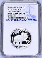 2016 P Australia HIGH RELIEF 1oz Silver Koala $1 Coin NGC PF70 ER LABEL COA