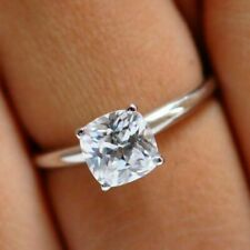 2.60 Ct Cushion Simulated Moissanite Wedding Solitaire Ring 14K White Gold Over