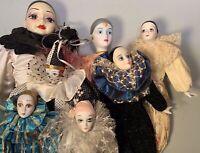 "Lot of 7 Harlequin Porcelain Clowns Bradley Dolls  2 Musical 22"" 18"" 14"" 13"" 10"""