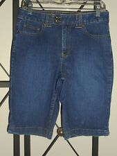 "St. John's Bay Women 4 (Small) Tummy Slimming Bermuda Dark Blue Jean Shorts 30""W"
