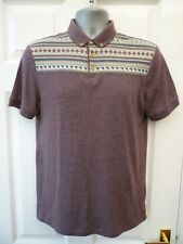 BURTON Mens Size S Mauve Purple Nordic Print Short Sleeve Casual Jersey Polo Top