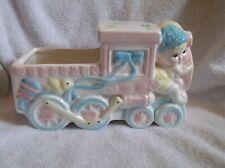 Vintage Ceramic Locomotive Train Engine Nursery Planter- Pink, Blue & Yellow