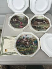Cozy Glen, Hollyhock Cottage, Cottage at Brookside Franklin Mint Plate Violet