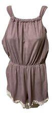 Altar'd State Mauve Pink Velvet Romper Short Lace Crochet Accent Sz M Pockets