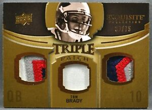 10 UD Exquisite Collection Tom Brady TRIPLE NFL JERSEY PATCH 30/75 2010 PATRIOTS