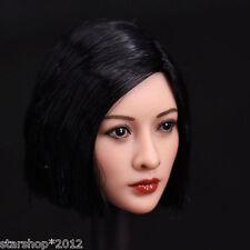 "1/6 Scale Asian Black Wig Head Sculpt Model Suit 12"" Female Phicen Body Figures"