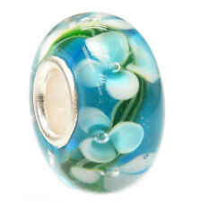 Round Murano Flower Glass Bead with Sterling Silver for European Charm Bracelet