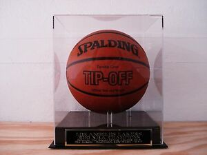 LA Lakers Basketball Display Case With A 2010 NBA Champions Engraved Nameplate