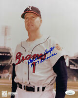 BRAVES Del Crandall signed 8x10 photo w/ 1957 Braves JSA COA AUTO Autographed