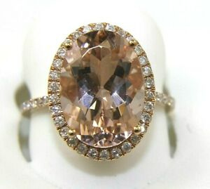 Natural Oval Pink Morganite & Diamond Solitaire Lady's Ring 14k Rose Gold 6.40Ct