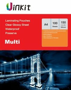 A4 Thermal Hot Laminating Pouches Sheets  150Micron75x2  303x216mm Uinkit