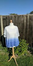 M&S White & Blue, Gradiated T-Shirt-Size 24-Superb Condition