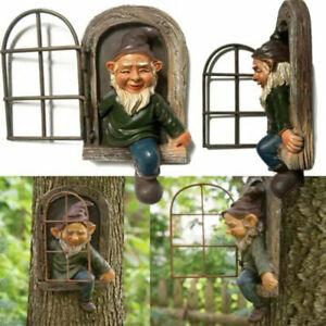 Elf Out The Door Tree Hugger Lawn Art Outdoor Resin Garden Decor Tree Sculpture