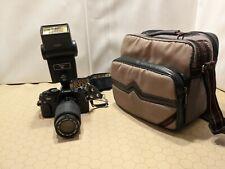 Canon T60 T-60 35mm Film Camera w/ Kalimar MC Auto Zoom Lens, Vivitar 283 Flash