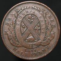 1837 | Lower Canada Un Sou Half-Penny Token | Copper | Tokens | KM Coins