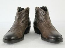 Vtg Catarina Women Zip Ankle Boots Snake Leather Rider Brown Size US7 UK5 EU38