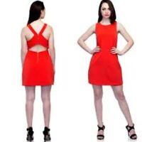 ZARA TRAFALUC dress cutout mini sleeveless party club orange a line L LARGE