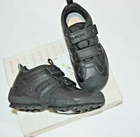Geox Respira J Savage Boys Kids School Shoes Black Leather Size UK 10 EU 28 BNIB