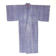 Japanese Vintage Kimono for Men Cotton Yukata Indigo White Check L101