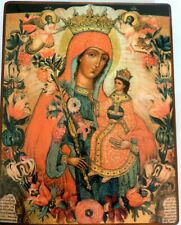 More details for wood base orthodox russian icon of unfading colour Неувядаемый цвет