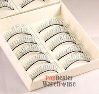 10 Pairs Natural Thin Fake False Eyelashes Eye Lashes Make Up With FREE GLUE