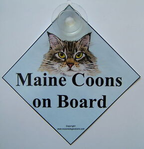 Maine Coon cat art car sign laminated from original painting by Suzanne Le Good