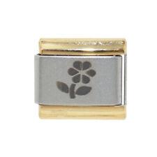 Flower laser gold outline Italian Charm - fits 9mm Italian charm bracelets