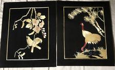 VTG HAND CUT & PAINTED WHEAT STALK ON SILK PRC (CHINA) 8 X 10 2 SETS WALL ART