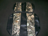 EZ-GO TXT Hunting Golf Cart Vinyl Seat Covers-Front/Rear(Black w/Camo)