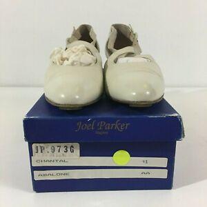 VTG Joel Parker Women Sz 11 AA Narrow White Strappy Slip On Heels Leather Shoes