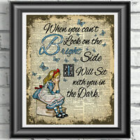 DICTIONARY PAGE ART PRINT VINTAGE ANTIQUE BOOK Alice in Wonderland BRIGHT Quote