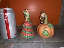 2 Vintage Avon Holiday Bells 1990 & 1991 Thanksgiving & Christmas