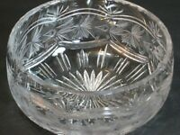 "Antique American Brilliant ABP Intaglio Hand Cut Glass Bowl 7.5"" Roses/Vine Mint"