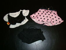 Build a Bear Smallfrys Mini Pink Black Polka Dot Sequin White Shirt Skirt Outfit