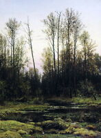 Art Oil Shishkin Ivan Ivanovich - Forest in the spring of 1884 with Quiet creek