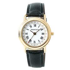TIFFANY & CO M193 Alarm Mens Quartz Watch White Dial 18K YG Leather Strap 34MM
