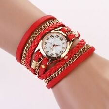 New Womens Stainless Steel Leather Strap Braided Bracelet Quartz Wrist Watch Lot