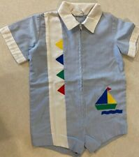 Vintage Boys Baby Togs Jumper/Romper 3T  Blue White Pinstripes  Sailboat