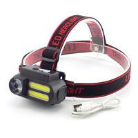 COB Led Headlamp XPE Headlight Mini 18650 Head Torch Lamp Light USB rechargeable